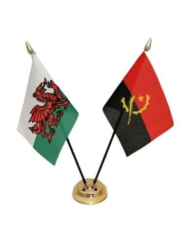 Angola with Wales Friendship Table Flag